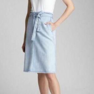 GAP a-line Midi Jean Skirt Raw Hem Belted waist 31